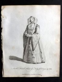 Jefferys C1760 Costume Print. Lady of Cologne in 1588 Germany